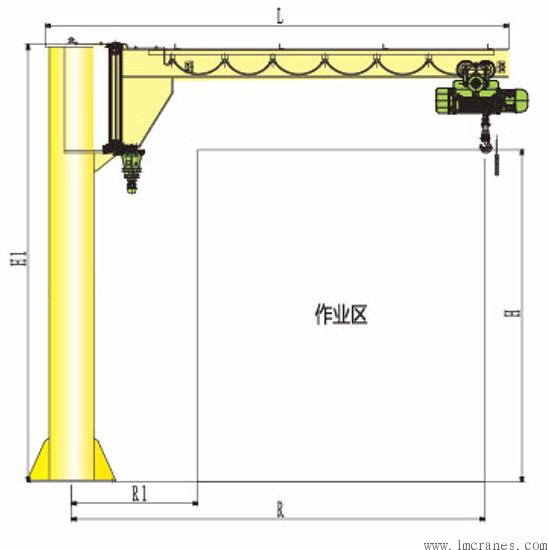 BZ型定柱式悬臂吊最大旋转角度可以达到270度。 BZ型定柱式悬臂吊旋转的方式可以选择手动或者电动。 BZ型定柱式悬臂吊旋转减速机可以放在上面或者下面。 适用于房屋有限高的场合。可配低净空环链葫芦,节省更多的空间。 环境条件: BZ-A型定柱式旋臂起重机能在三维空间内随意操作,特别是在短距、密集型吊运的场合更能显示出比常规吊运设备独有的优越性。 广泛应用于车间、仓库、码头等固定场所。 技术参数: